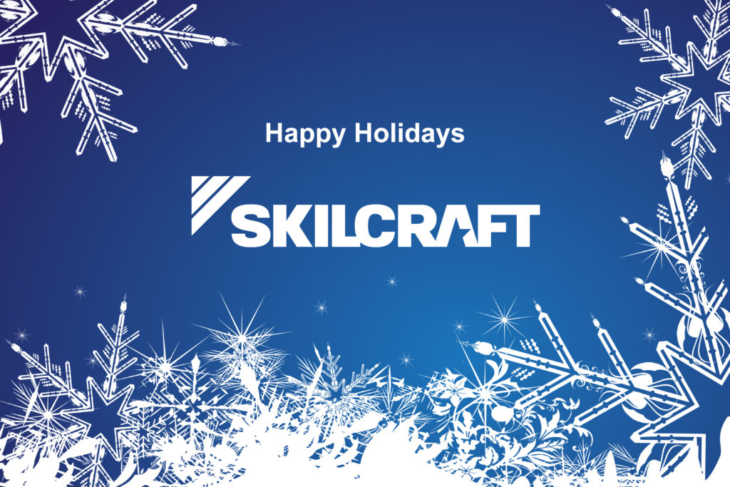 "Image of the 2019 NIB holiday card featuring the new SKILCRAFT logo in all-white, set atop a blue background with snowflakes around the border. The image includes the text ""Happy Holidays."""
