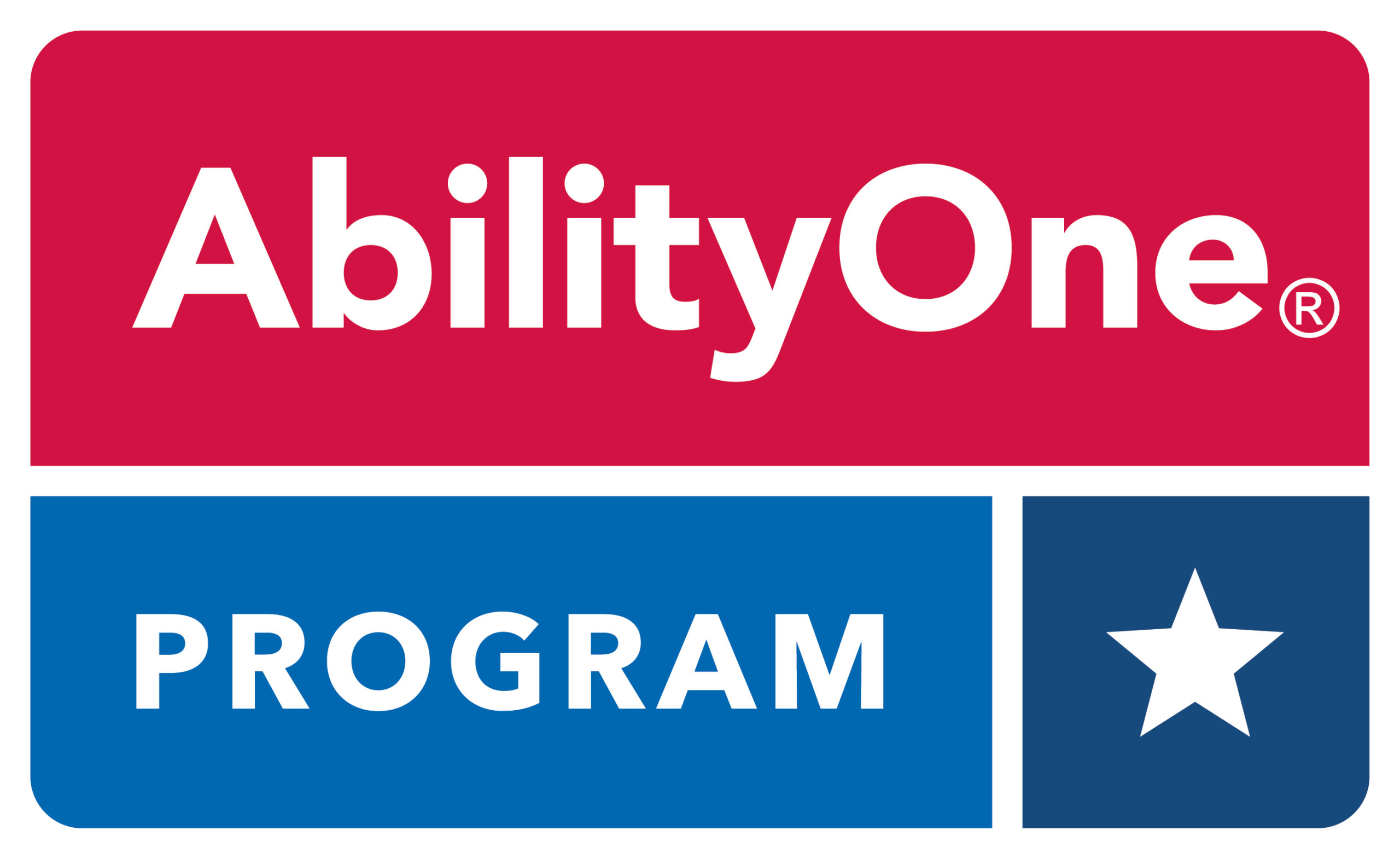A logo with the word AbilityOne in white on a red background and the word Program and a star in white on a blue background