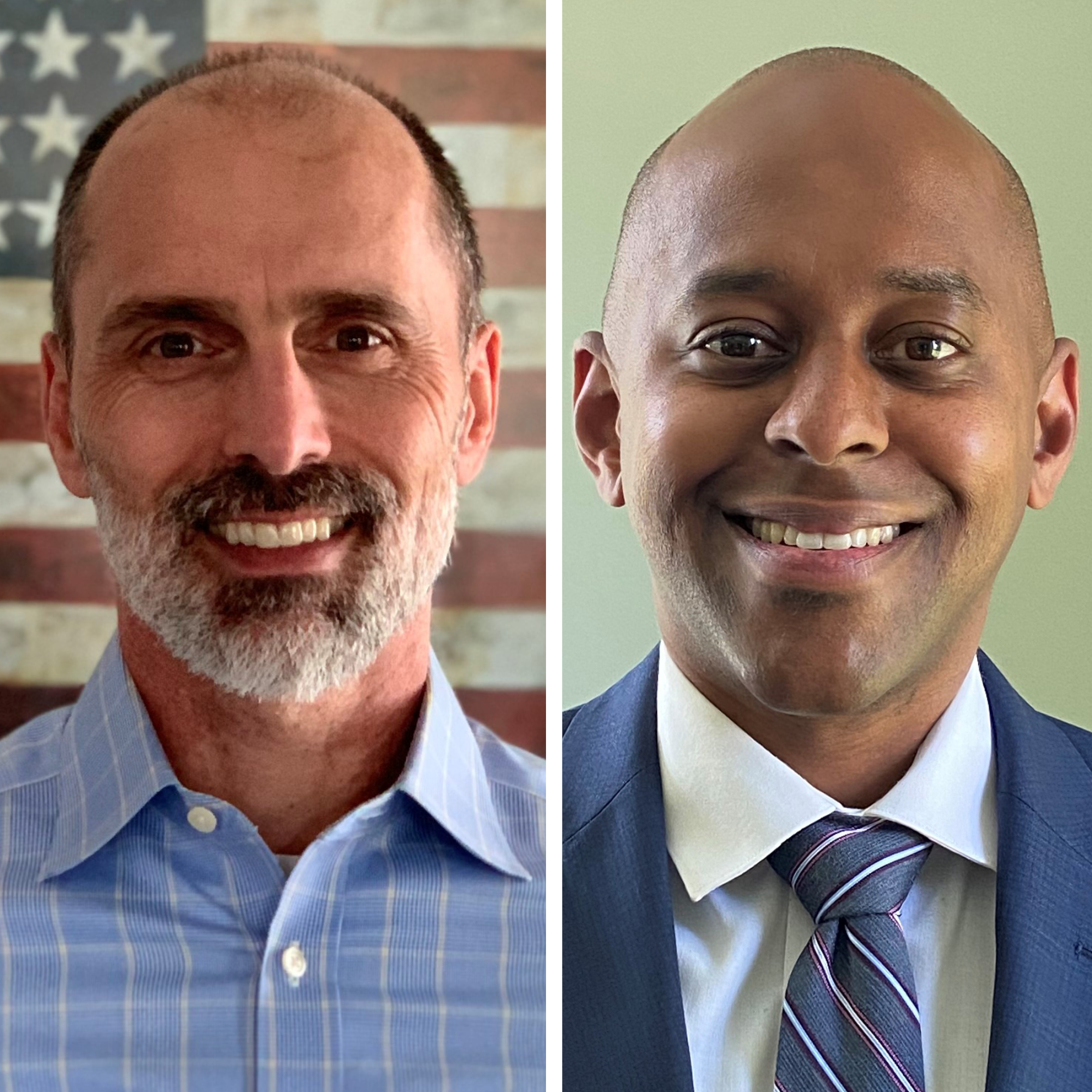 Rob Clemens in a light blue shirt in front of an American flag background, and Kariym Smith in a blue suit with white shirt and blue tie.