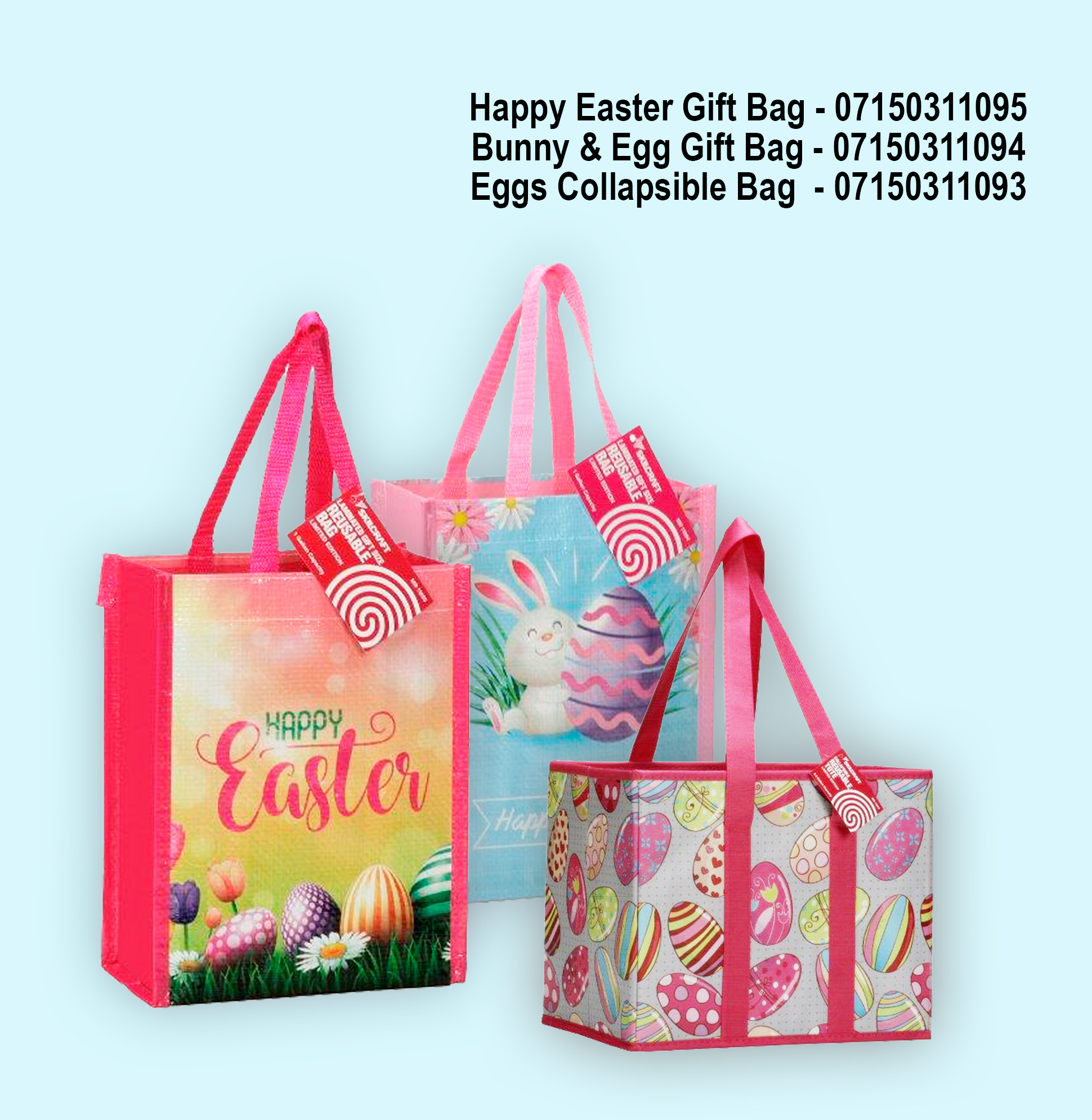 three different easter theme tote bags with product numbers