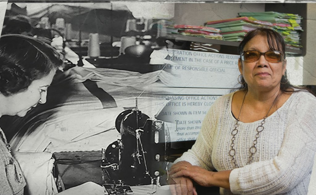 historic photo of female employee who is blind sewing superimposed next to a photo of a present-day female employee who is blind at a computer
