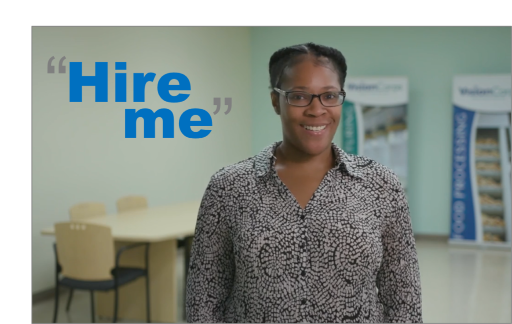 "image of female employee with the words ""Hire Me"""